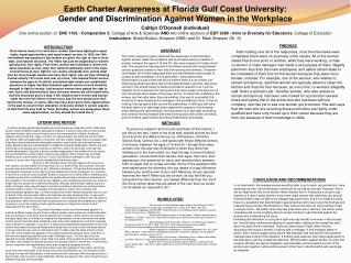 Earth Charter Awareness at Florida Gulf Coast University: