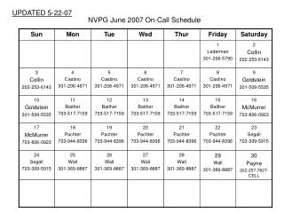 NVPG June 2007 On-Call Schedule