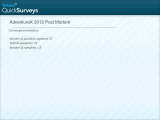 AdventureX 2012 Post Mortem