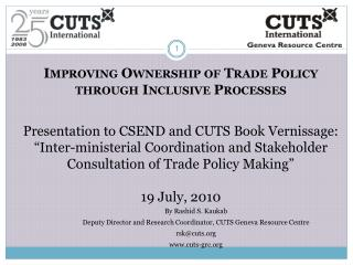 Improving Ownership of Trade Policy through Inclusive Processes