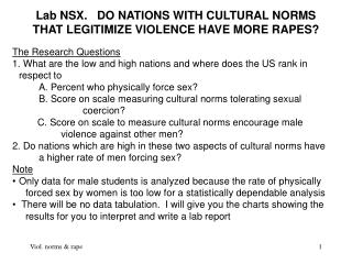 Lab NSX.   DO NATIONS WITH CULTURAL NORMS THAT LEGITIMIZE VIOLENCE HAVE MORE RAPES?