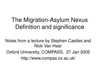 The Migration-Asylum Nexus Definition and significance