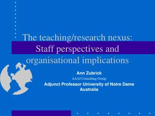 The teaching/research nexus: Staff perspectives and organisational implications