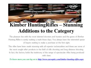 Kimber hunting rifles – stunning additions to the category