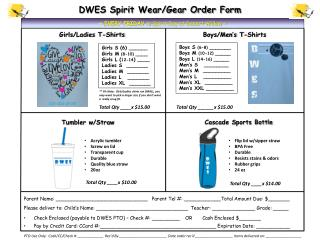 DWES Spirit Wear/Gear Order Form