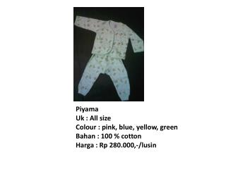 Piyama Uk  : All size Colour  : pink, blue, yellow, green Bahan  : 100 % cotton