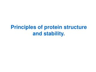 Principles of protein structure and stability.
