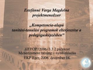 HEFOP/2006/3.3.2 pályázat Menedzsment tréning – nyitó előadás EKF Eger, 2006. december 14.