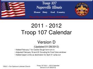2011 - 2012  Troop 107 Calendar