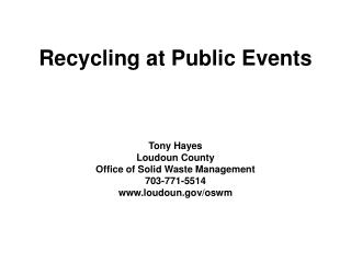 Recycling at Public Events