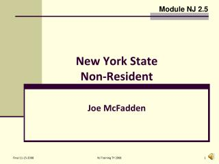 New York State  Non-Resident