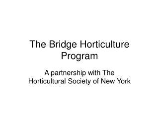 The Bridge Horticulture Program