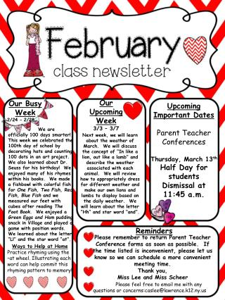Our Busy Week 2/24 � 2/28