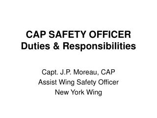 CAP SAFETY OFFICER Duties & Responsibilities