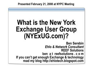 What is the New York Exchange User Group (NYExUG)?