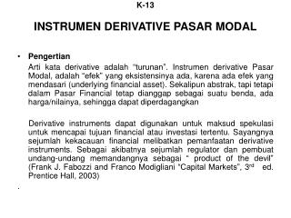 K-13 INSTRUMEN DERIVATIVE PASAR MODAL