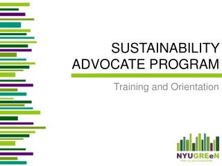 SUSTAINABILITY  ADVOCATE PROGRAM