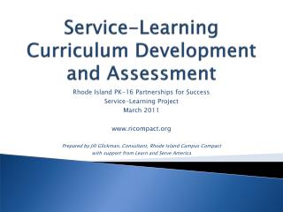 Service-Learning Curriculum Development and Assessment