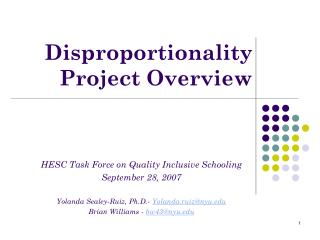 Disproportionality  Project Overview