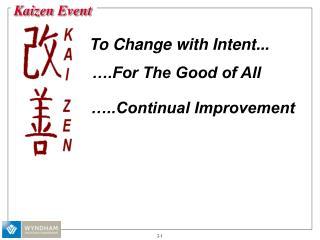 ..Continual Improvement