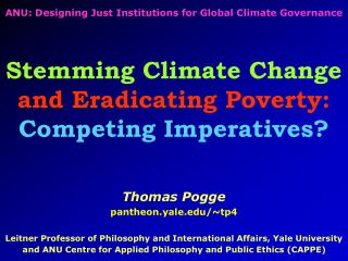 ANU: Designing Just Institutions for Global Climate Governance