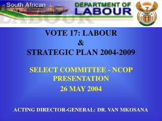 VOTE 17: LABOUR & STRATEGIC PLAN 2004-2009