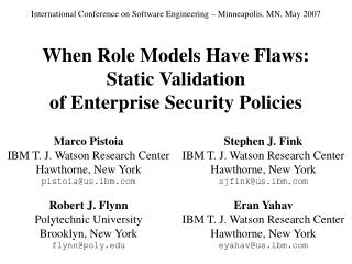 When Role Models Have Flaws: Static Validation of Enterprise Security Policies