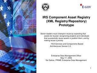 IRS Component Asset Registry (XML Registry/Repository) Prototype