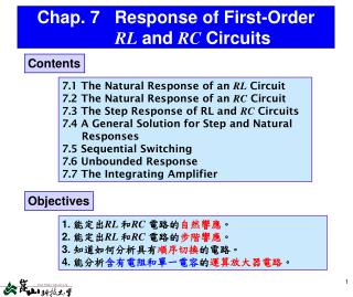 Chap. 7 Response of First-Order  RL and  RC  Circuits