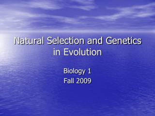 Natural Selection and Genetics in Evolution