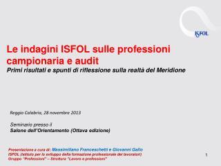 Le indagini ISFOL sulle professioni campionaria e audit