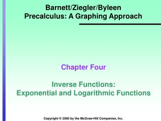 Barnett/Ziegler/Byleen Precalculus: A Graphing Approach