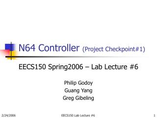 N64 Controller  (Project Checkpoint#1)