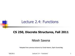 Lecture 2.4: Functions