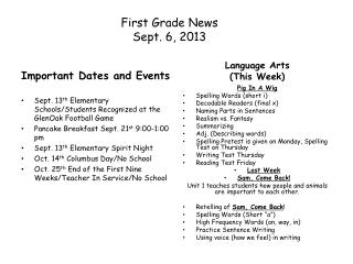 First Grade News Sept.  6 ,  2013