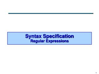 Syntax Specification Regular Expressions