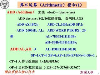 算术运算( Arithmetic )指令 (1 )