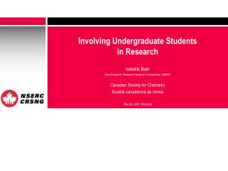 Involving Undergraduate Students  in Research