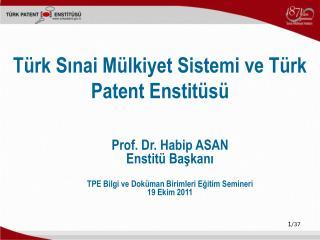 Türk S ı nai Mülkiyet Sistemi ve Türk Patent Enstitüsü