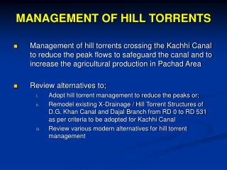 MANAGEMENT OF HILL TORRENTS