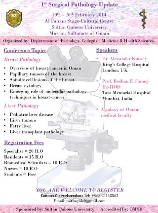 Organized by: Department of Pathology, College of Medicine & Health Sciences
