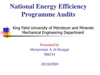 National Energy Efficiency Programme Audits