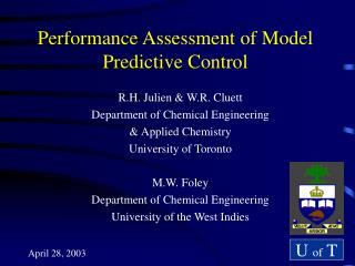 Performance Assessment of Model Predictive Control