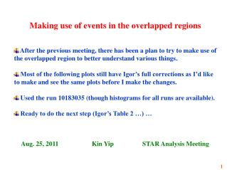 Making use of events in the overlapped regions