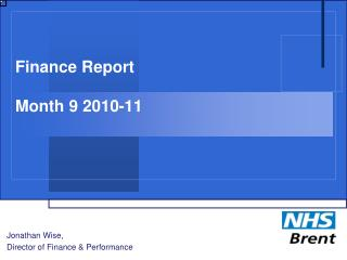 Finance Report Month 9 2010-11
