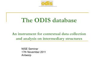 NISE Seminar 17th November 2011 Antwerp
