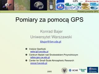 Pomiary za pomocą GPS