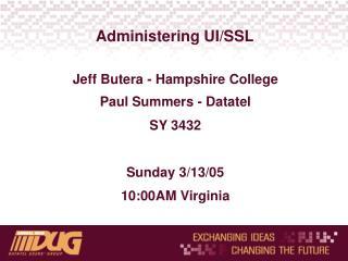 Administering UI/SSL
