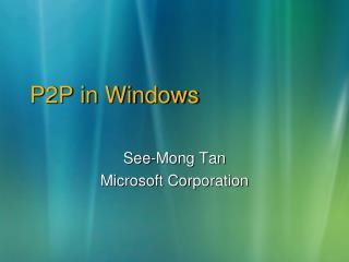 P2P in Windows