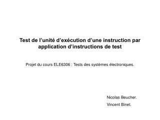 Test de l'unité d'exécution d'une instruction par application d'instructions de test